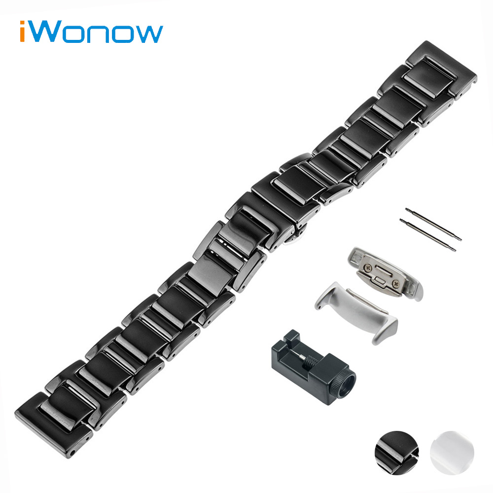 Ceramic Watch Band 18mm for Samsung Gear Fit 2 SM-R360 Butterfly Buckle Strap Wrist Belt Bracelet Black White + Adapter + Tool машинка для удаления ржавчины