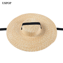 USPOP 2019 Newest women sun hat french style wide brim straw casual natural wheat lace-up beach shade
