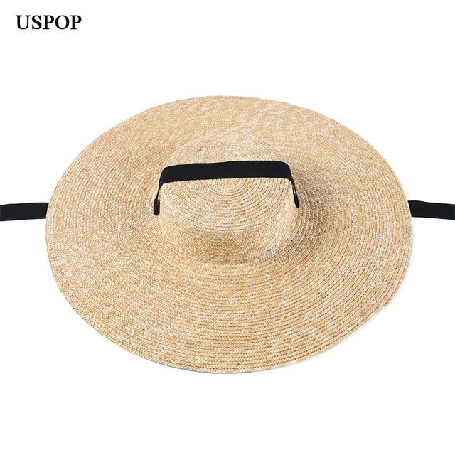 USPOP ฤดูร้อนหมวกผู้หญิงหมวกภาษาฝรั่งเศสคำสไตล์กว้าง brim หมวก Casual ธรรมชาติข้าวสาลีฟางหมวก LACE Up หมวกชายหาด Shade