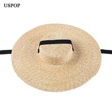 USPOP 여름 모자 여성 태양 모자 프랑스 스타일 와이드 브림 밀짚 모자 캐주얼 자연 밀 밀짚 모자 레이스 업 비치 모자 그늘