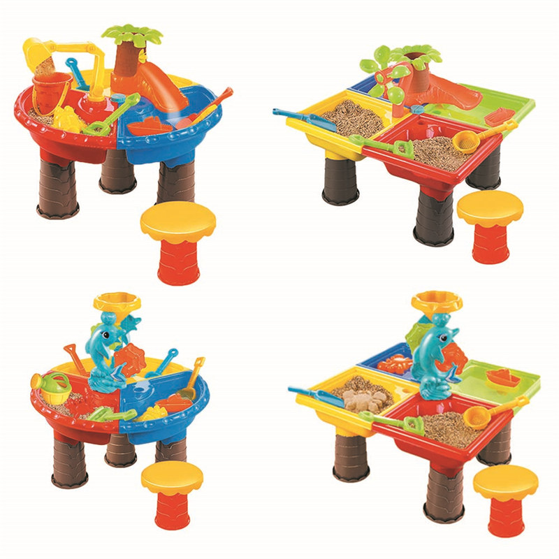 Children's Beach Table Sand Pool Set Summer Sand Water Play Toys Outdoor Playing Toys Baby Water Sand Dredging Tool Kits