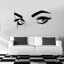 High Quality Sexy Eyebrows Eyes Girl Woman Eyelashes Makeup Wall Stickers Beauty Salon Livingroom Interior Home Decor DIY ZW357