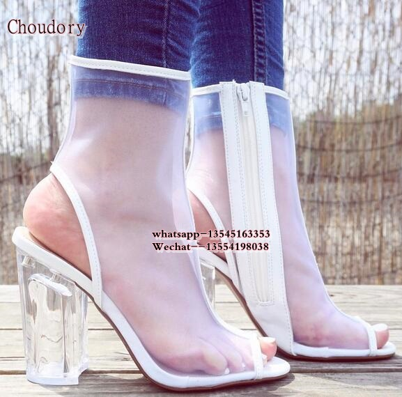 2018 PVC Mesh Open Toe Zip Clear Chunky heel Ankle Boots Women Clear Block High Heels Short Booties Womens Sandals Spring Shoes