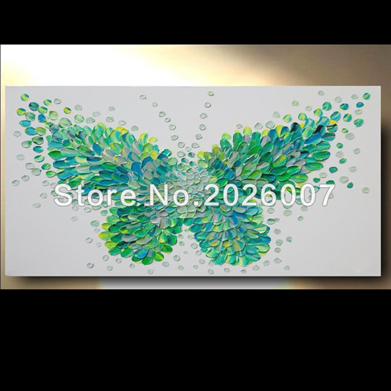 fca5f945ba064 US $35.0 |Hand Painted Palette Knife Abstract Oil Painting Custom Painting  Butterfly Green On Canvas Modern Painting Decoration Fine Art-in Painting &  ...