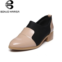 BONJOMARISA New Fashion Genuine Leather Square Low Heels Slip On Top Quality Shoes Woman Casual Spring