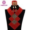 Vermelho brilhante Contas de Cristal Colar Apelativo para As Mulheres Traje ABK889 Nigerianos Casamento Beads Africanos Jóias Set Frete Grátis