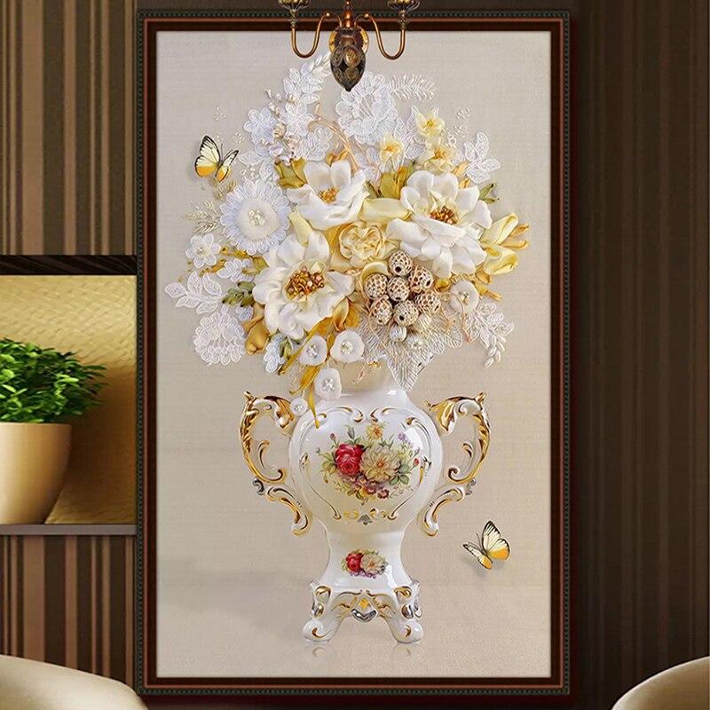Custom 3D Photo Wallpaper European Style 3D Stereoscopic Embossed Vase Living Room Entrance Corridor Background Mural De Parede