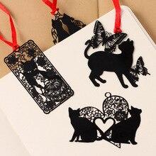 Прекрасные корейской закладки книги каваи черная кошка книга металла милые творческий