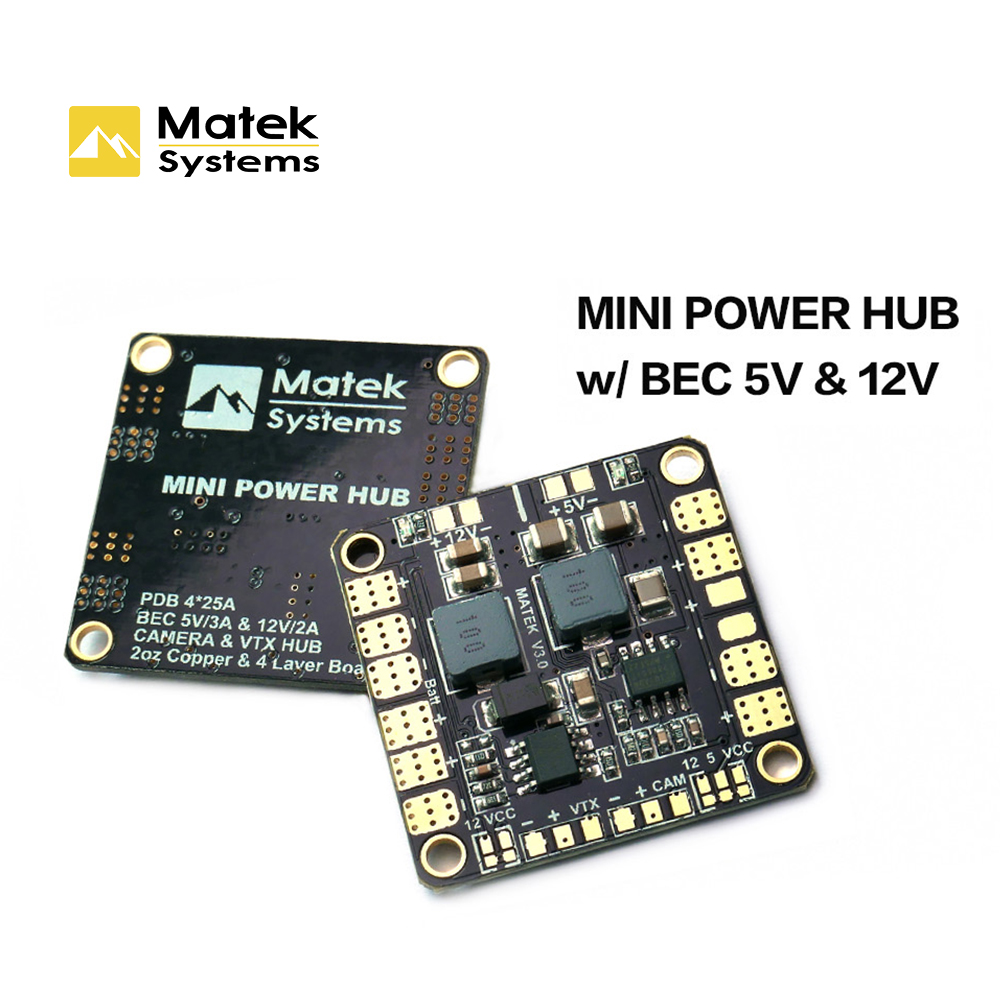 Matek Systems Original Mini Power Hub Power Distribution Board With BEC 5V And 12V For FPV Multicopter Quadcopter diy Drone 1pcs lightweight matek rgb led circle board 7 colors x8 16v for fpv rc multicopter
