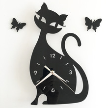 Orologio Da Parete Cute Black Cat Clock Kids Bedroom Wall Sticker Decoration Mirror Clock 3D Cartoon Wall Watches Duvar Saati