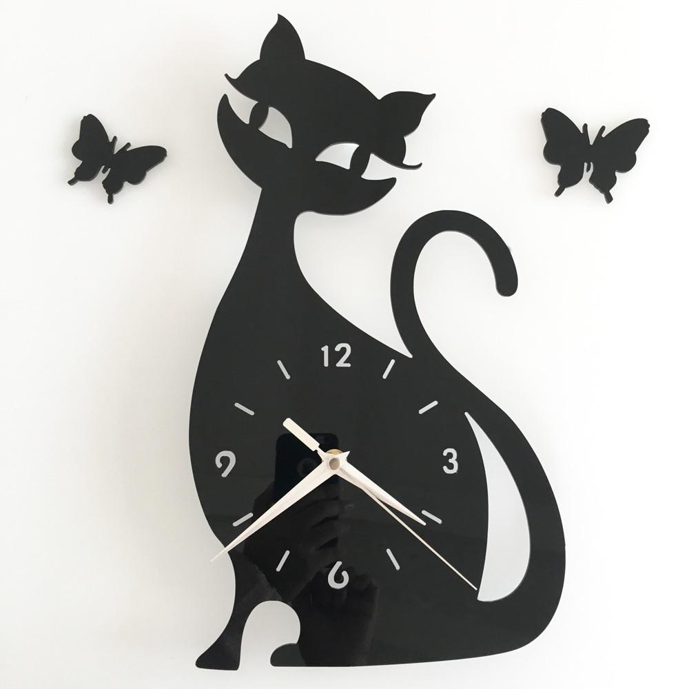 Orologio Da Parete Roztomilá černá kočka hodiny děti ložnice nástěnné nálepky dekorace zrcadlo hodiny 3D kreslený nástěnné hodinky Duvar Saati