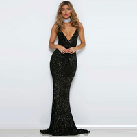 Sexy Deep V Neck Padded Stretch Maxi Dress Bodycon Hollow Out Backless Party Dress Tight Package Hips Black Lining Summer Dress