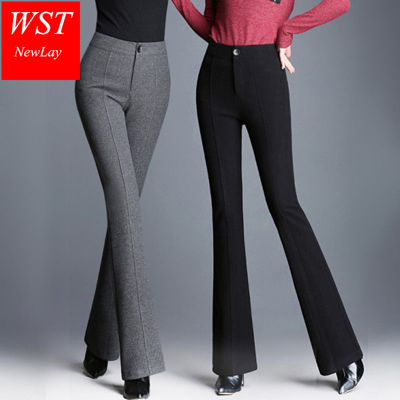 New   Wide     Leg     Pants   Women Trousers Loose High Waist Spring Autumn Elastic Waist Casual Party Club Pantalones