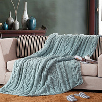 Ручной работы большой супер Коренастый вязаное одеяло Вязаный Плед толстый для кровати диван взрослых прямоугольник шерсть Флисовое одеял