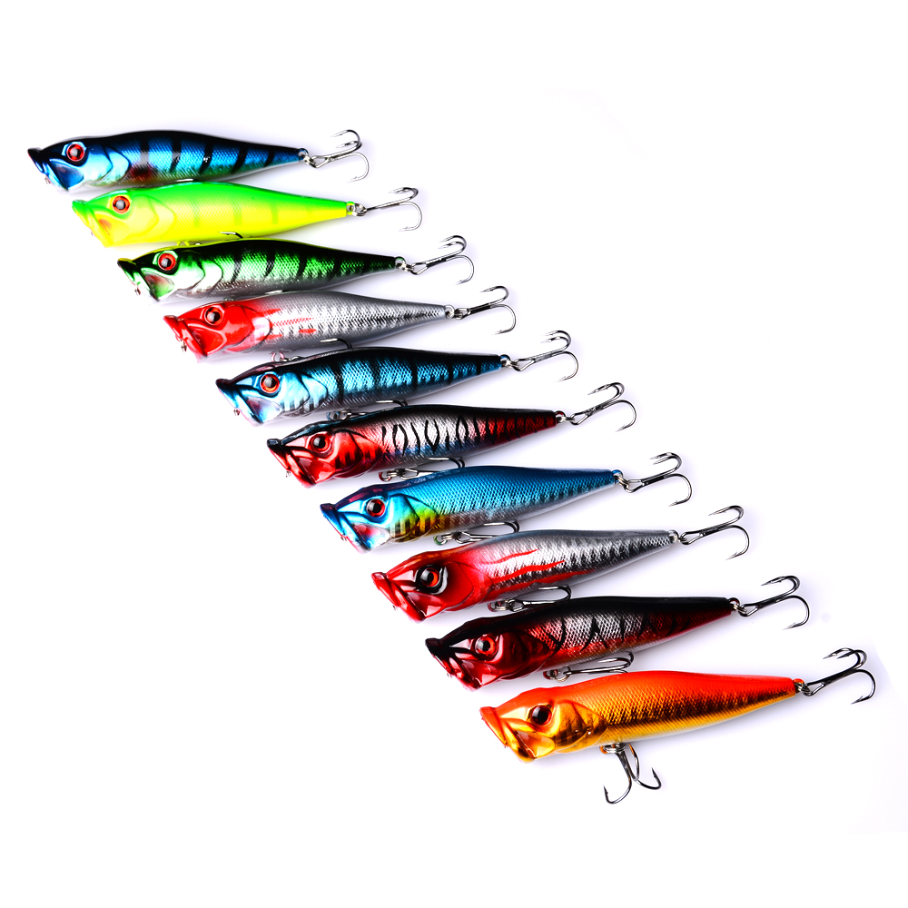 10pc fishing lure selling Popper Lure 10 color fishing bait 9.5cm/12g fishing tackle 6# high carbon steel anchor hook