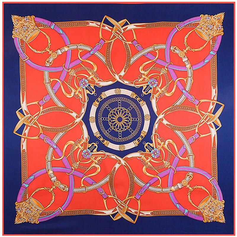Σούπερ Μεγάλο Twill Silk Women Μαντήλι 130 * 130cm Euro Αλυσίδα Ζώνη Splicing Εκτύπωση Κασκόλ Κασκόλ Υψηλής ποιότητας δώρο μόδας Μεταξωτή σάλι