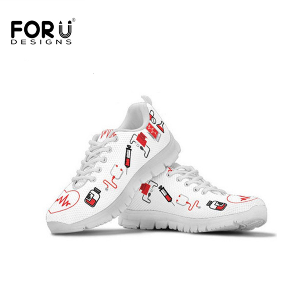 FORUDESIGNS Women Vulcanized Shoes Autumn Nurse Heart Lace Up Flats Comfortable Platform Sneakers Lady Casual Shoe