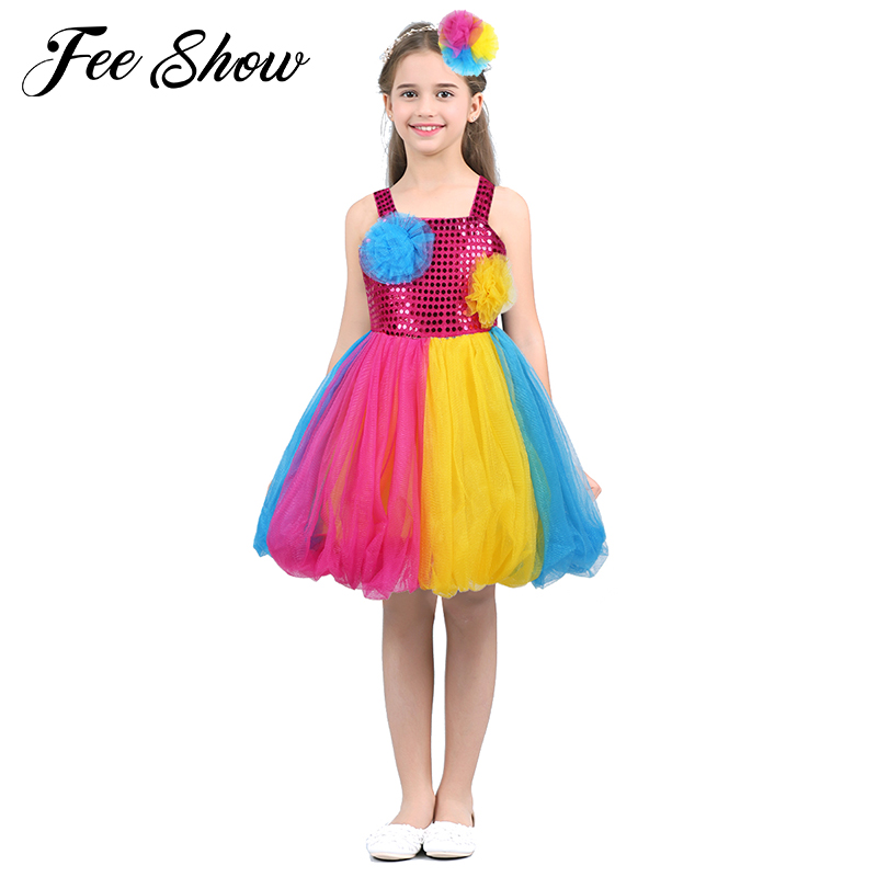 Children's Colorful Fairy Tutu Dress Lovely Candy Color Shiny Sequined Baby Girls Dancing Costume Modern Dance Performance Wear