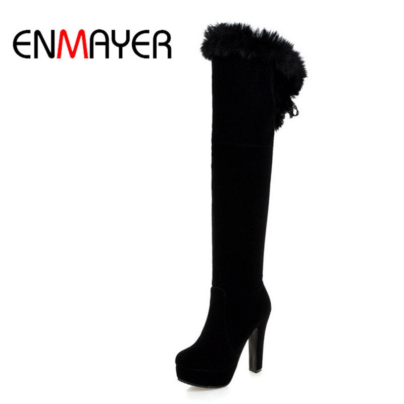 ENMAYER Fashion Long Boots for Women Nubuck Winter Boots Sexy Over the Knee High Heels Women Boots Large Size 34-43 Shoes цены онлайн