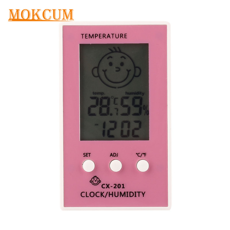 Digital LCD Thermometer Hygrometer Clock Indoor C/F Temperature Humidity Meter Colorful Baby Face Comfort Level Display Monitor