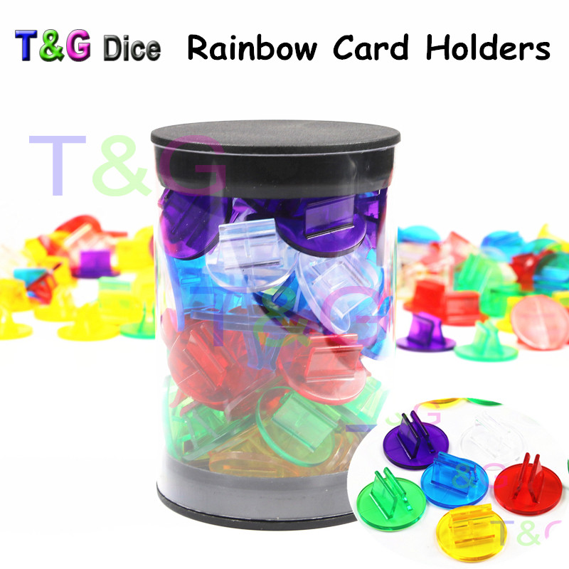 Hot Sales 50pcs/Tube Rainbow Translucent Plastic Game Card Stands,Board  Pieces/Accessories,Perfect for 2mm Cards