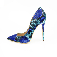 2018 Women Shoes Blue Snake Printed Sexy Stilettos High Heels 12cm/10cm/8cm Pointed Toe Women Pumps
