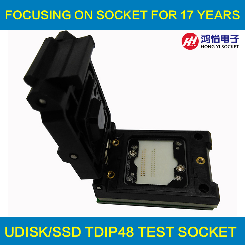 SD Card DIP48 Test Socket Clamshell Burn in Socket SD Chip for SD card test device customize need your electrical case crystal probe oscillator test socket burn in socket for 7050 4pin crystal size 7 0x5 0mm xo crystal test socket burn in socket