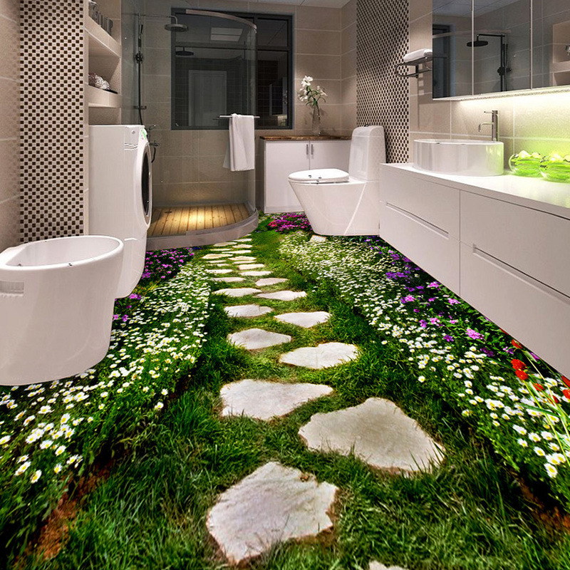 Custom floor wallpaper flower small road toilets bathroom for Revestimiento autoadhesivo para paredes