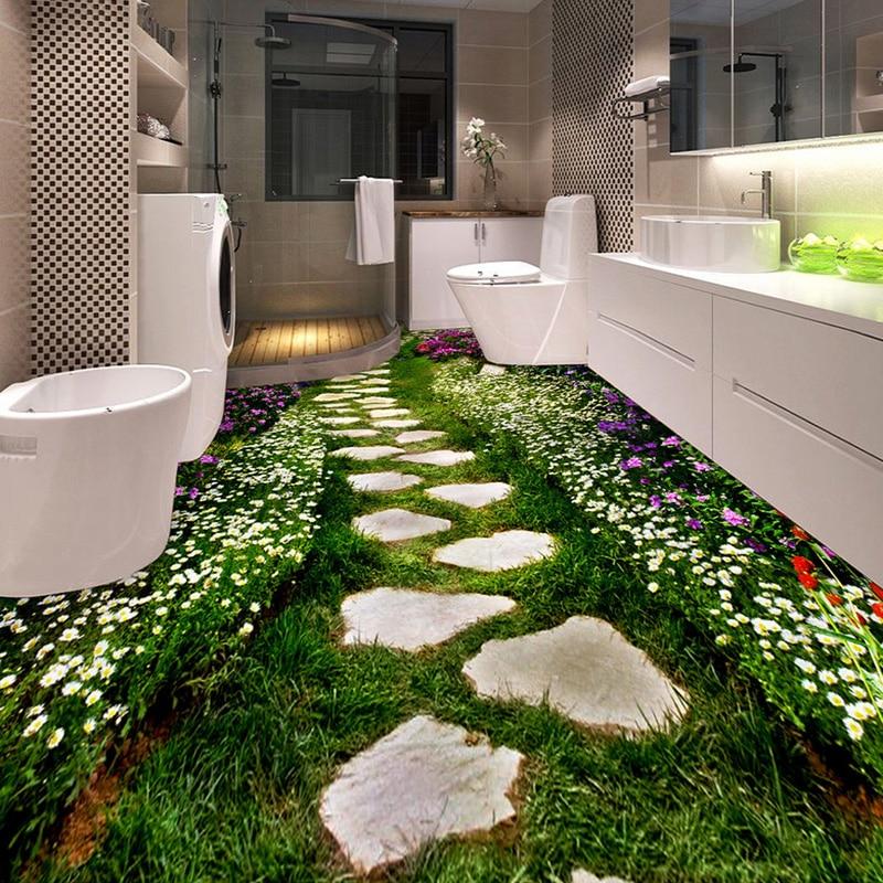 Custom 3d Floor Wallpaper Flowers Road Bathroom Kitchen: Custom Floor Wallpaper Flower Small Road Toilets Bathroom