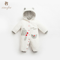 Simyke Winter Baby Embroidered Rompers Clothes Long Sleeve Babys Boy Thick Warm Jumpsuit Infant Baby Girl