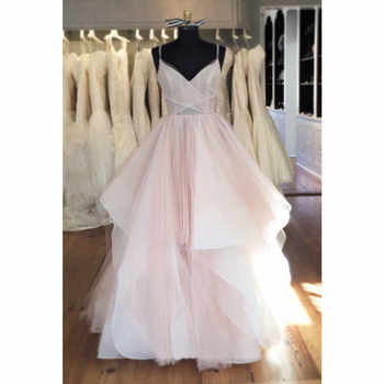 2019 High Quality Pleat Tulle Evening Dress Backless Tiere A Line Long Party Dresses Custom Made Sexy Women Occasion Gowns Cheap