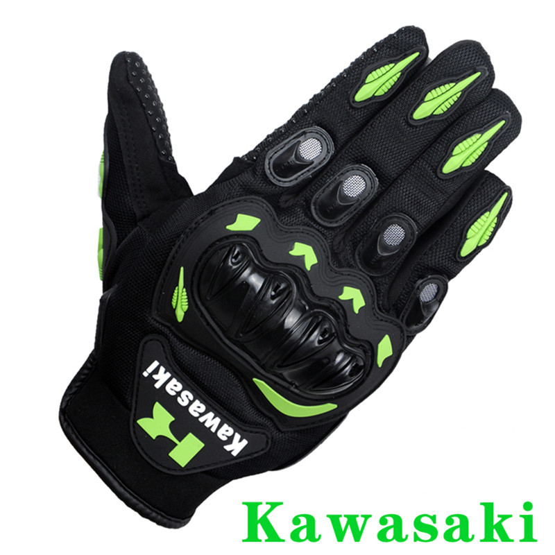 Kawasaki Marque Plein Doigt Moto Gants Moto Motocicleta Luva Moto Motocicleta Motocross Gants vert couleur M L XL XXL