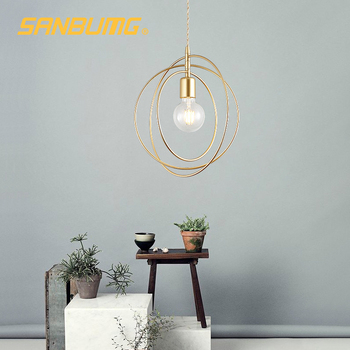 SANBUMG Nordic Modern Creative Ring Pendant Lights Golden E27 Base for Living Room Bedside Restaurant Hotel Porch Balcony Bar