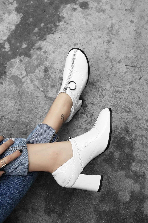 Profonde Glissière Talons Cuir Pompes Fleur Européen noir Métal Bout Rond Mode Épais En L3f8 Beige 2019 Style Chaussures Véritable Pleine Peu Hauts qOzBE