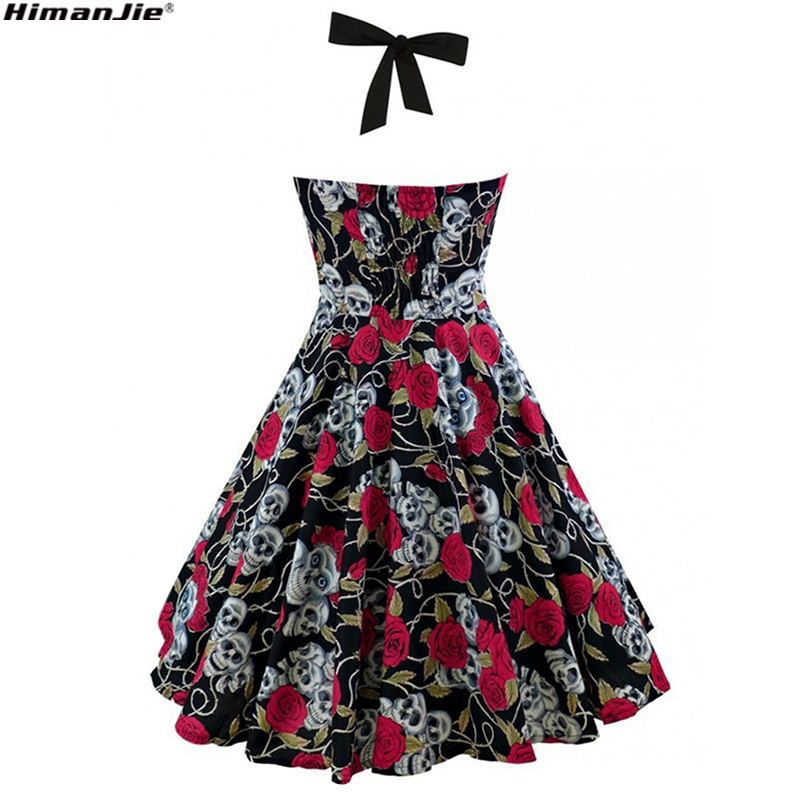 HimanJie Retro Vintage Style Sleeveless 3D Skull Floral Printed 2018 Summer Women Dress Halter Plus Size Party Sexy Casual Dress 5