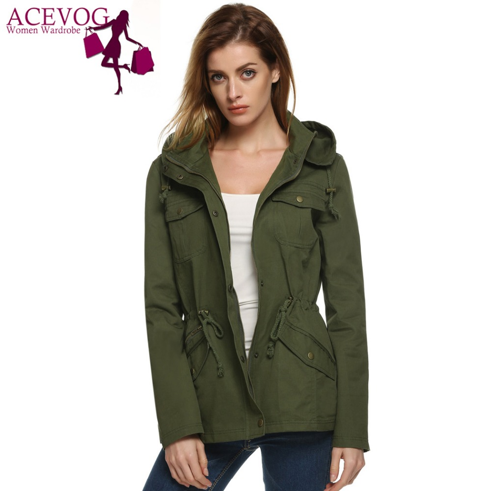 ACEVOG Winter Cool Fashion Ladies Women Solid Detachable Hooded Hip Length Drawstring   Trench   Coat Casual Outerwear Overcoat