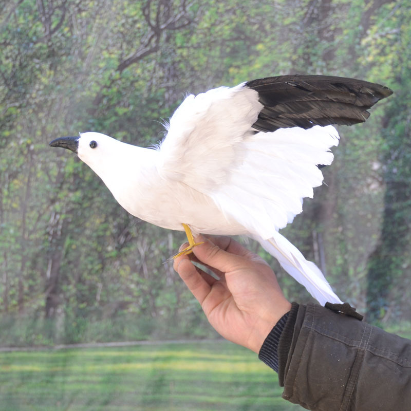 big simulation wings Seagull toy plastic&fur white and black flying bird gift about 60x32cm