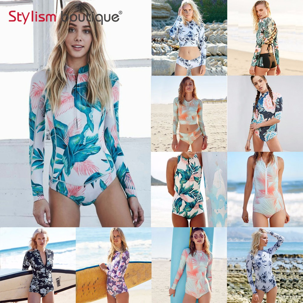 2019 Long Sleeves Rash Guard Women Surf Swimwear Floral Leaf One Piece Swimsuit
