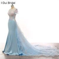 Light Blue Wedding Dresses Detachable Ruffle Train Short Sleeve Ceremony Dress Beaded See Through Corset Real Photo High End