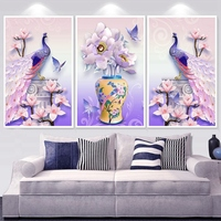 3 pcs Full Drill Diamond Painting Simple Modern Flower Peacock Mosaic Pattern diy Diamond Embroidery Hand Crafts Home Decor Gift