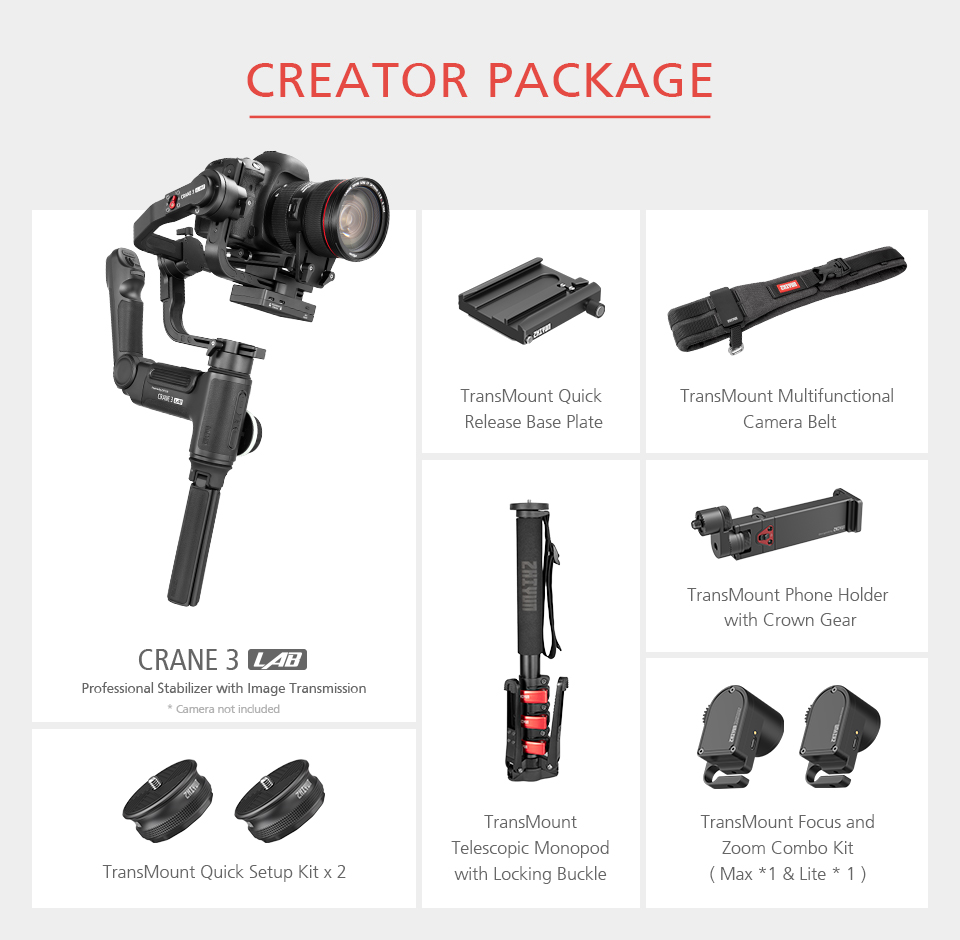 Zhiyun Crane 3 Lab Crane 2 Upgrade Version 3-Axis Gimbal Stabilizer for DSLR Cameras, 1080P Full HD Wireless Image Transmission 21