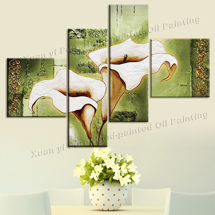 4 Piece Wall Art Handpainted  White Modern Landscape Decorative Oil Painting On Canvas Wall Art Flower PictureHome Decoration