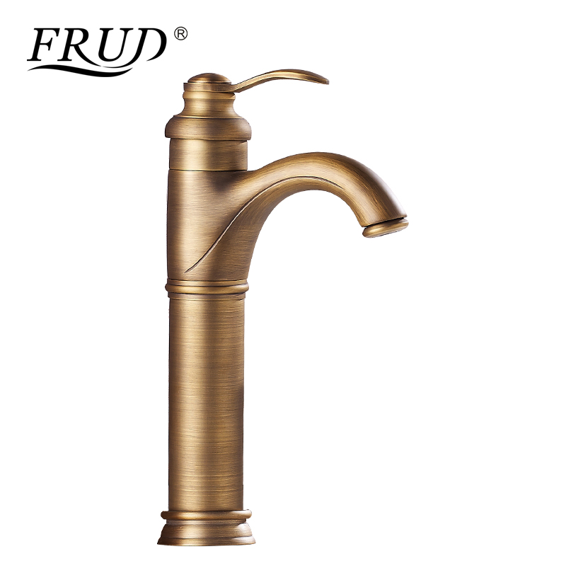 цена на FRUD Brushed Basin Faucets Retro Sink Mixer Deck Mounted Single Handle Single Hole Bathroom Faucet Brass Hot and Cold Tap Y10070