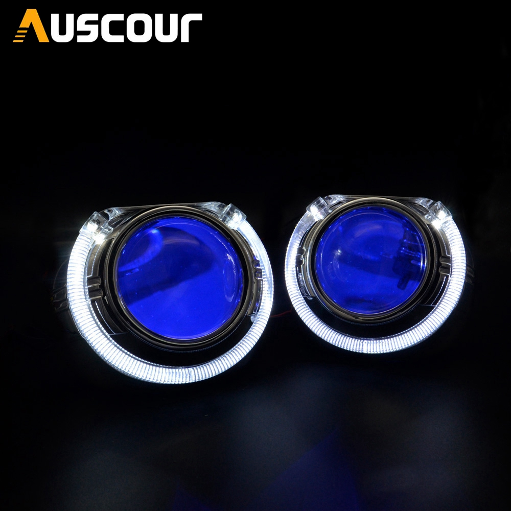 2 pçs 2.5 polegada bixenon hid lente do projetor carro com drl anjo olhos mortalhas para h1 h4 h7 xenon kit lâmpada farol do carro conjunto