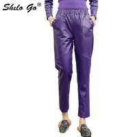 Уличная кожа брюки женские повседневные боковые карманы эластичная высокая талия Овчина натуральная кожа шаровары лаконичные женские Кап