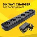Cargador de seis Vías Walkie Talkie Cargador de Accesorios para Zastone Radio Portátil Universal Cargador Rápido para UV-5R Baofeng UV-82 V8