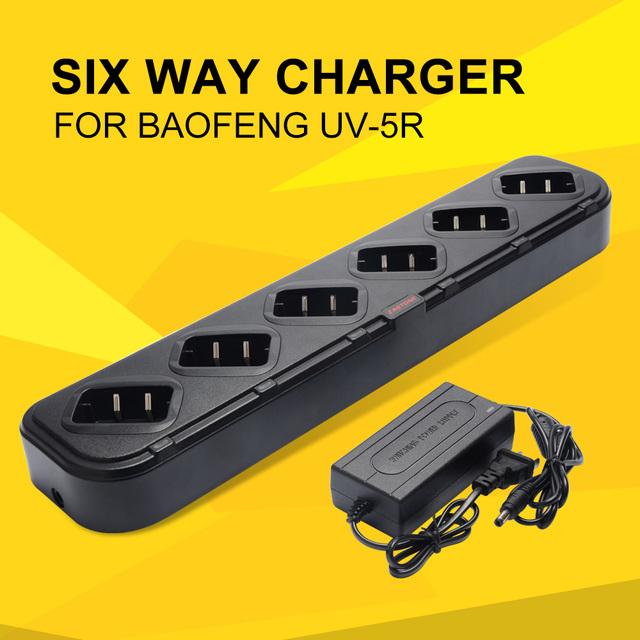 Seis Maneira Carregador de Acessórios para Handheld Rádio Walkie Talkie Carregador Rápido Universal Carregador de mesa para Baofeng UV-5R UV-82 Zastone V8