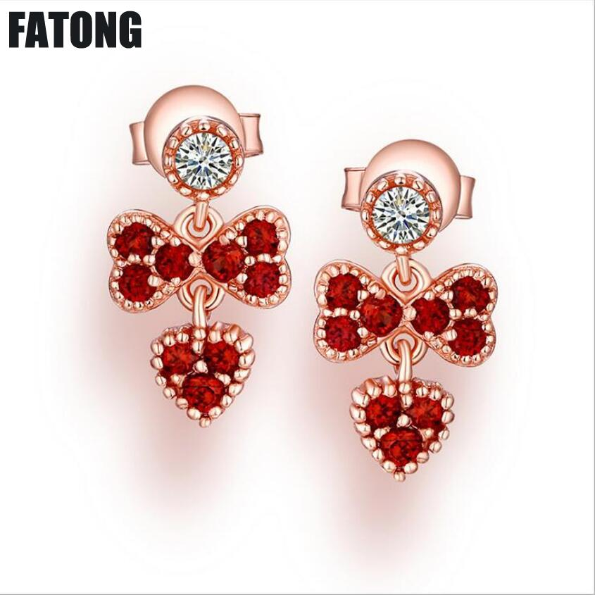 European and American fashion 925 sterling silver love earrings Heart-shaped red pomegranate earrings Female J078 fashion custom lettering 925 silver love heart shaped couple necklace peach heart pendants for men and women yp3196