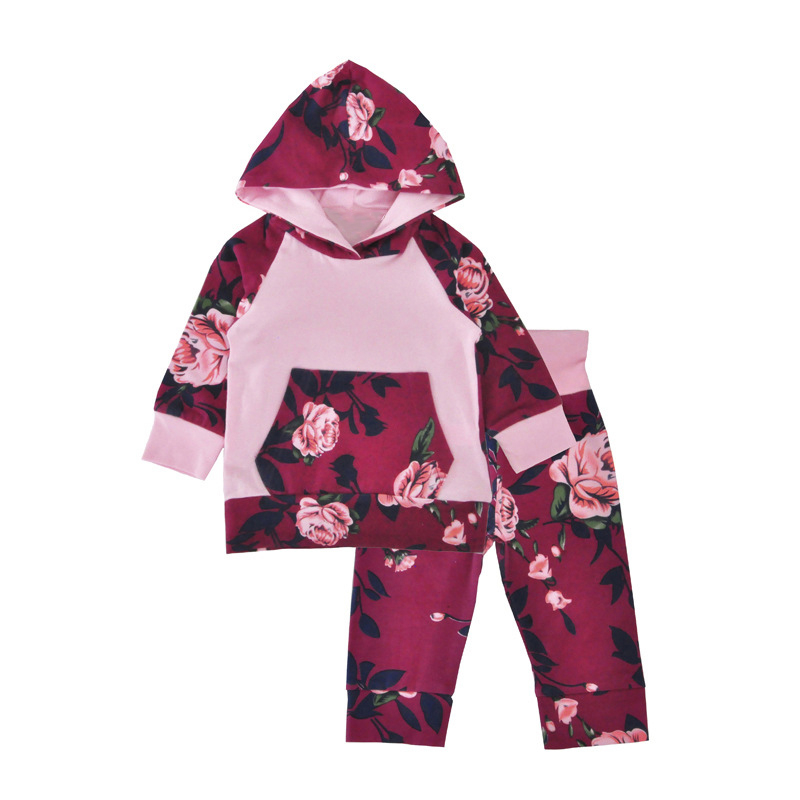 2017 Time-limited Hot Sale Full Inss Explosion Of Floral Hooded Long Sleeved Sweater Suit Flower Clothes Baby Set Girl Newborn