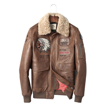 7c9b1c2f649 Hombres chaqueta de cuero 2018 chaqueta de Aviador chaquetas de cuero  genuino Cuello de piel Vintage motocicleta Suede chaqueta para hombres  invierno marrón